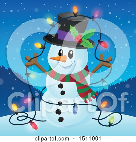Clipart of a Happy Snowman with a Strand of Lit Colorful Christmas Lights - Royalty Free Vector Illustration by visekart