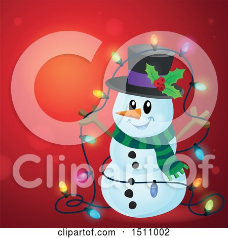 Clipart of a Snowman with a Strand of Colorful Christmas Lights over Red - Royalty Free Vector Illustration by visekart