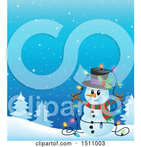 Clipart of a Happy Snowman with a Strand of Colorful Christmas Lights in a Winter Landscape - Royalty Free Vector Illustration by visekart