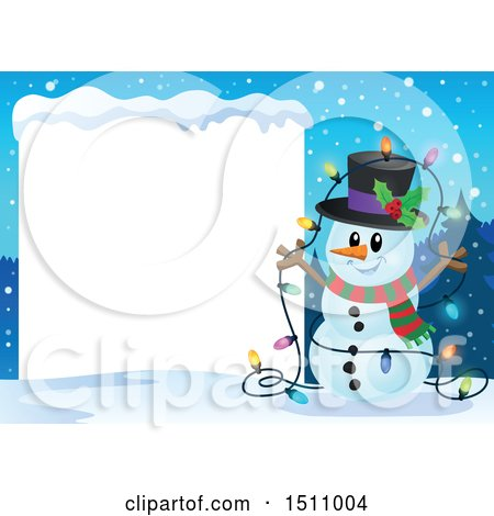 Clipart of a Happy Snowman with a Strand of Colorful Christmas Lights by a Blank Sign - Royalty Free Vector Illustration by visekart