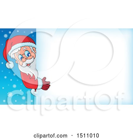 Clipart of a Christmas Sign with Santa Claus - Royalty Free Vector Illustration by visekart