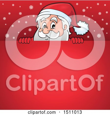 Clipart of a Red Christmas Sign with Santa Claus - Royalty Free Vector Illustration by visekart