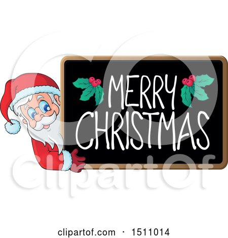 Clipart of a Merry Christmas Blackboard with Santa Claus - Royalty Free Vector Illustration by visekart