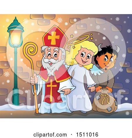 Clipart of a Sinterklaas with an Angel and Krampus - Royalty Free Vector Illustration by visekart