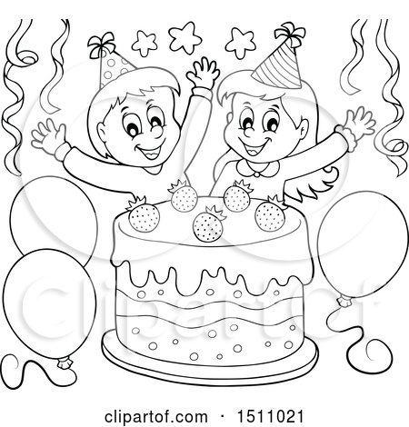 Clipart Of A Black And White Boy Girl Celebrating At Birthday Party With