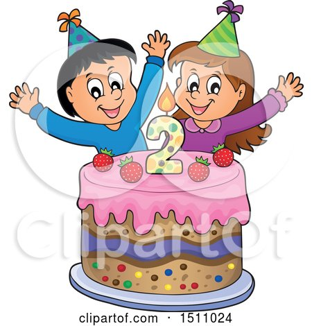 Clipart of a Boy and Girl Celebrating at a Second Birthday Party with a Cake - Royalty Free Vector Illustration by visekart