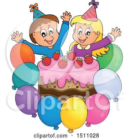 Clipart of a Boy and Girl Celebrating at a Birthday Party with Balloons and a Cake - Royalty Free Vector Illustration by visekart