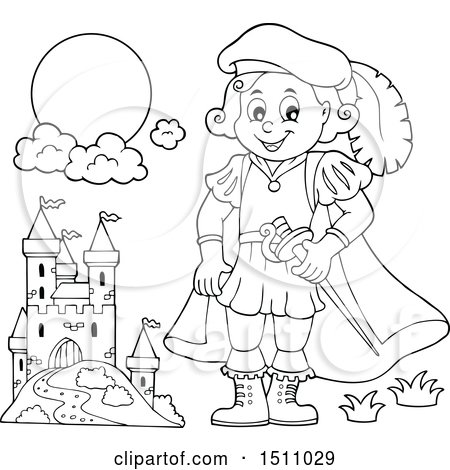 Clipart of a Black and White Fairy Tale Prince near a Castle - Royalty Free Vector Illustration by visekart