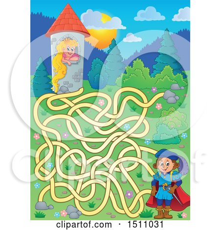 Clipart of a Maze of a Fairy Tale Prince near Rapunzel in a Tower - Royalty Free Vector Illustration by visekart
