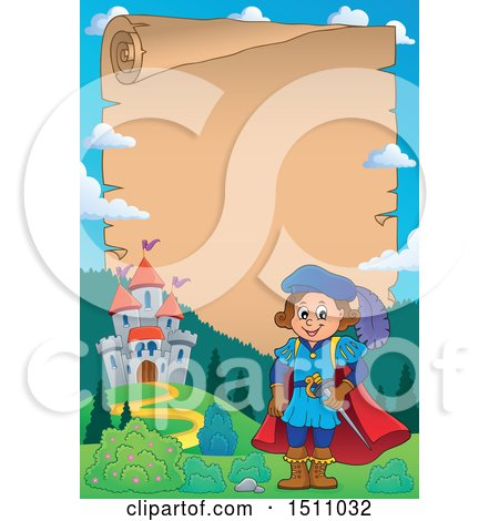 Clipart of a Parchment Scroll Border of a Fairy Tale Prince near a Castle - Royalty Free Vector Illustration by visekart