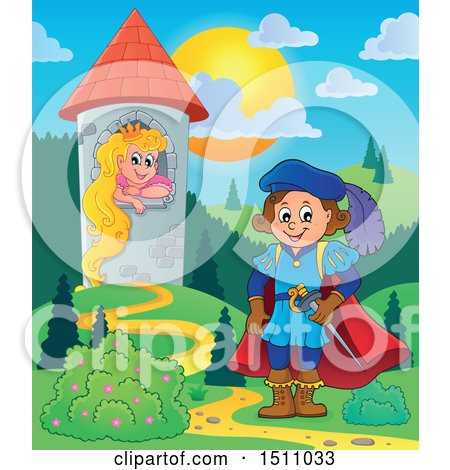 Clipart of a Fairy Tale Prince near Rapunzel in a Tower - Royalty Free Vector Illustration by visekart