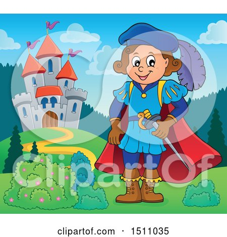 Clipart of a Fairy Tale Prince near a Castle - Royalty Free Vector Illustration by visekart