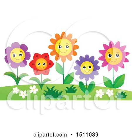 Clipart of a Garden of Smiling Flowers - Royalty Free Vector Illustration by visekart