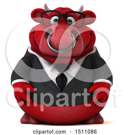 Clipart of a 3d Red Business Bull, on a White Background - Royalty Free Illustration by Julos