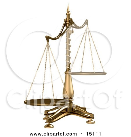 Brass Scales Of Justice Off Balance, Symbolizing Injustice on a White Background Clipart Illustration by Anastasiya Maksymenko