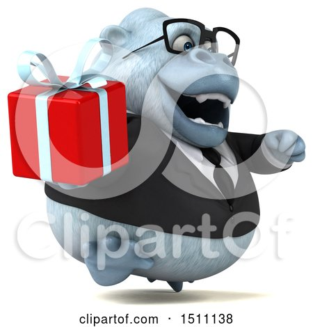 3d White Business Monkey Yeti Holding a Gift, on a White Background Posters, Art Prints