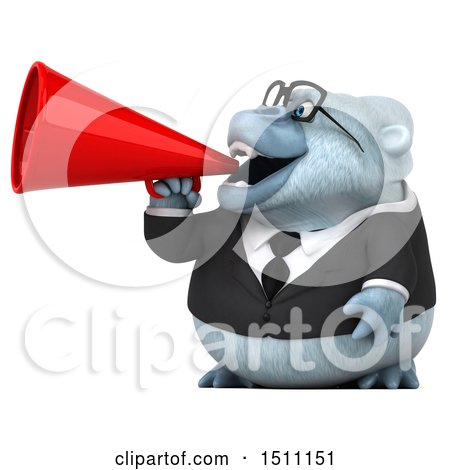 3d White Business Monkey Yeti Using a Megaphone, on a White Background Posters, Art Prints