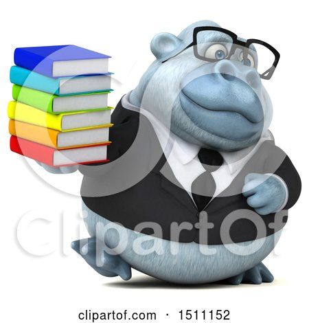 3d White Business Monkey Yeti Holding Books, on a White Background Posters, Art Prints