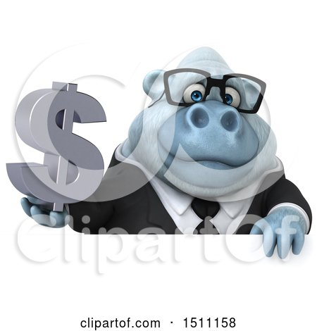 3d White Business Monkey Yeti Holding a Dollar Sign, on a White Background Posters, Art Prints