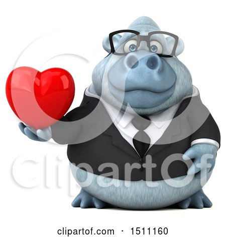 3d White Business Monkey Yeti Holding a Heart, on a White Background Posters, Art Prints