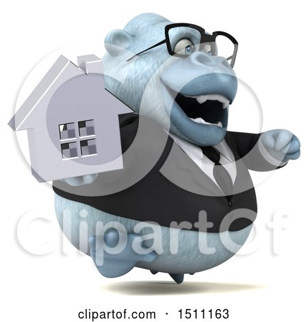 3d White Business Monkey Yeti Holding a House, on a White Background Posters, Art Prints