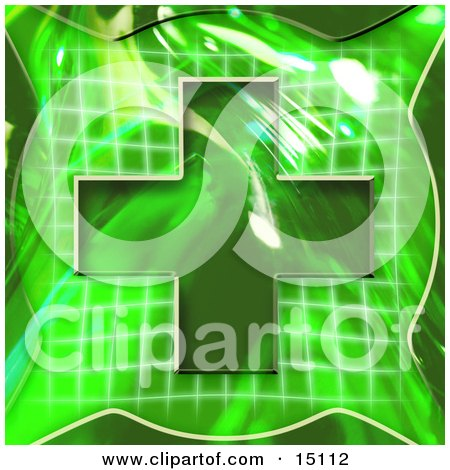 Green Background With A Cross Over A Graph, Symbolizing Medical Care Or Insurance Posters, Art Prints