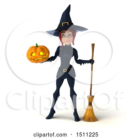 Clipart of a 3d Sexy Blue Witch Holding a Halloween Pumpkin, on a White Background - Royalty Free Illustration by Julos
