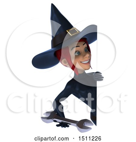 Clipart of a 3d Sexy Blue Witch Holding a Wrench, on a White Background - Royalty Free Illustration by Julos