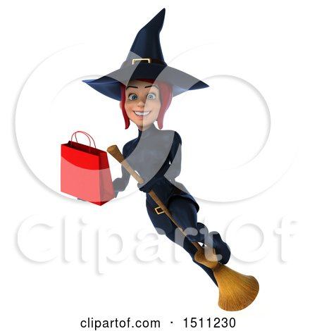 Clipart of a 3d Sexy Blue Witch Holding a Shopping Bag, on a White Background - Royalty Free Illustration by Julos