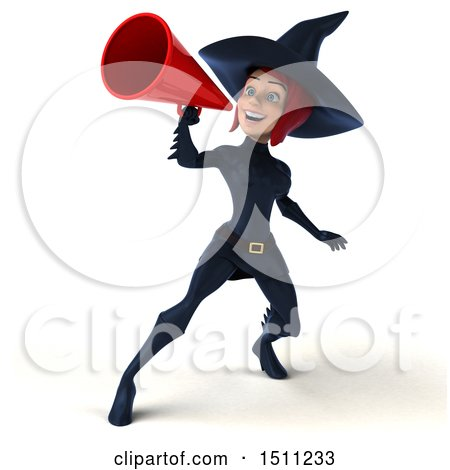 Clipart of a 3d Sexy Blue Witch Using a Megaphone, on a White Background - Royalty Free Illustration by Julos