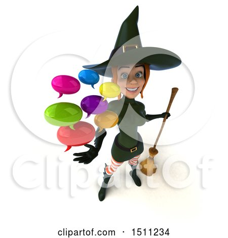 Clipart of a 3d Sexy Green Witch Holding Messages, on a White Background - Royalty Free Illustration by Julos