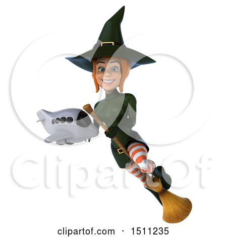 Clipart of a 3d Sexy Green Witch Holding a Plane, on a White Background - Royalty Free Illustration by Julos