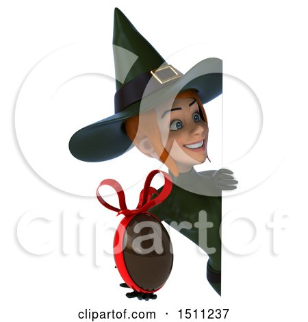 Clipart of a 3d Sexy Green Witch Holding a Chocolate Egg, on a White Background - Royalty Free Illustration by Julos