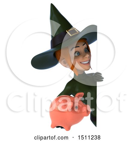 Clipart of a 3d Sexy Green Witch Holding a Piggy Bank, on a White Background - Royalty Free Illustration by Julos