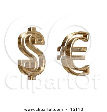 Golden American Dollar And Euro Symbols On A White Background Clipart Illustration by Anastasiya Maksymenko