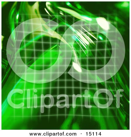 Square Green Grid And Reflections Of Light Clipart Illustration by Anastasiya Maksymenko