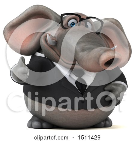 Clipart of a 3d Business Elephant Holding a Thumb Up, on a White Background - Royalty Free Illustration by Julos