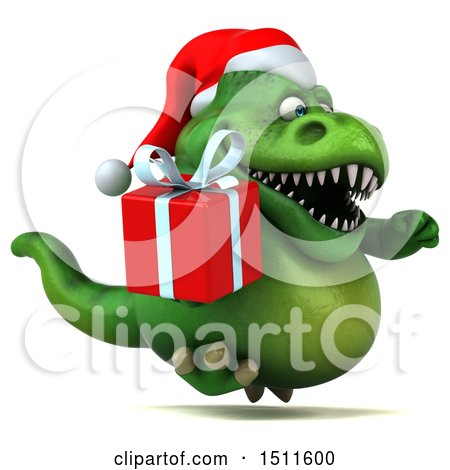 Clipart of a 3d Green Christmas T Rex Dinosaur Holding a Gift, on a White Background - Royalty Free Illustration by Julos