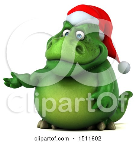 Clipart of a 3d Green Christmas T Rex Dinosaur Presenting, on a White Background - Royalty Free Illustration by Julos