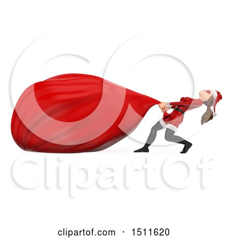 Illustration of a 3d Christmas Woman in a Santa Suit, Pulling a Giant Sack, on a White Background - Royalty Free Graphic by Texelart