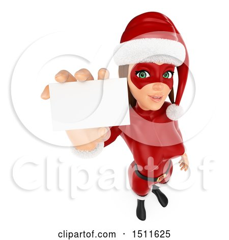 Illustration of a 3d Christmas Woman in a Santa Suit, Holding up a Card, on a White Background - Royalty Free Graphic by Texelart