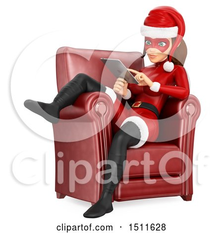 Illustration of a 3d Christmas Woman in a Santa Suit, Sitting in a Chair and Using a Tablet Computer, on a White Background - Royalty Free Graphic by Texelart