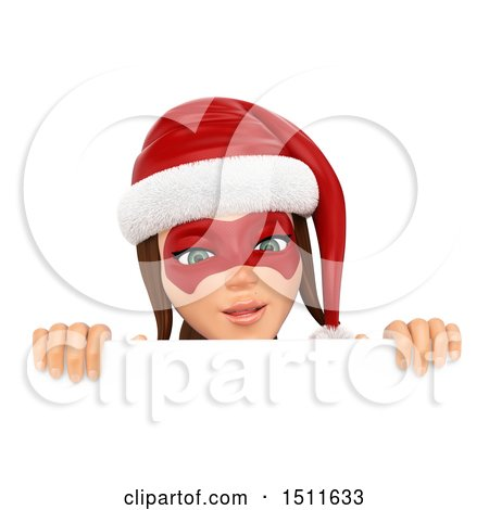 Illustration of a 3d Christmas Woman in a Santa Suit, Looking over a Sign, on a White Background - Royalty Free Graphic by Texelart