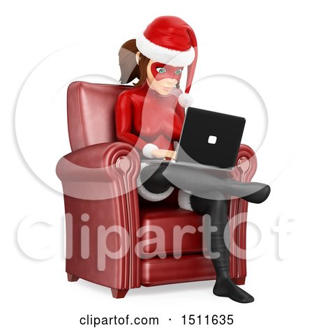 Illustration of a 3d Christmas Woman in a Santa Suit, Sitting in a Chair and Using a Laptop Computer, on a White Background - Royalty Free Graphic by Texelart