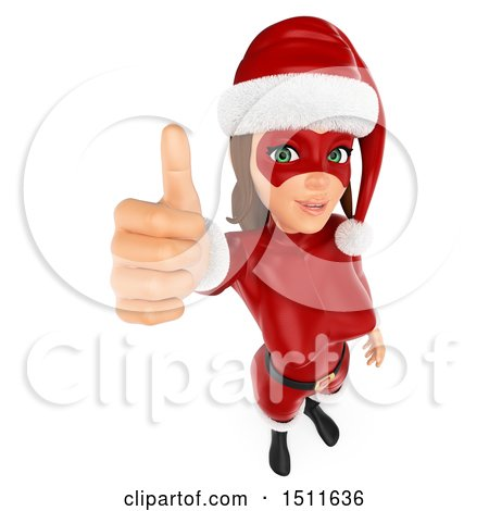 Illustration of a 3d Christmas Woman in a Santa Suit, Holding up a Thumb, on a White Background - Royalty Free Graphic by Texelart