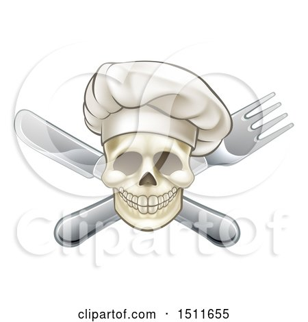 Clipart of a Chef Skull and Crossed Fork and Knife - Royalty Free Vector Illustration by AtStockIllustration