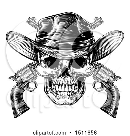 Clipart of a Black and White Engraved or Woodcut Styled Cowboy Skull and Crossed Pistols - Royalty Free Vector Illustration by AtStockIllustration