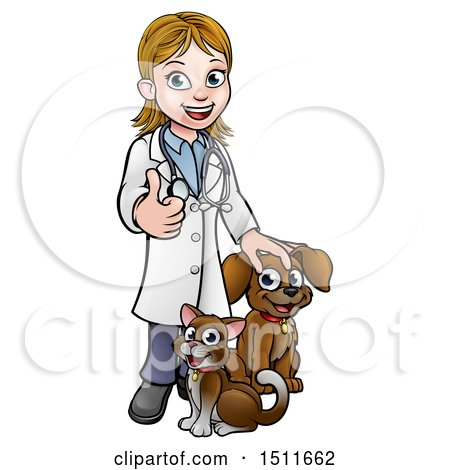 Clipart of a White Female Veterinarian Giving a Thumb up over a Cat and Dog - Royalty Free Vector Illustration by AtStockIllustration