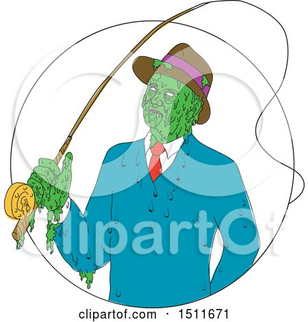 Clipart of a Sketched Mobster Fisherman Zombie - Royalty Free Vector Illustration by patrimonio