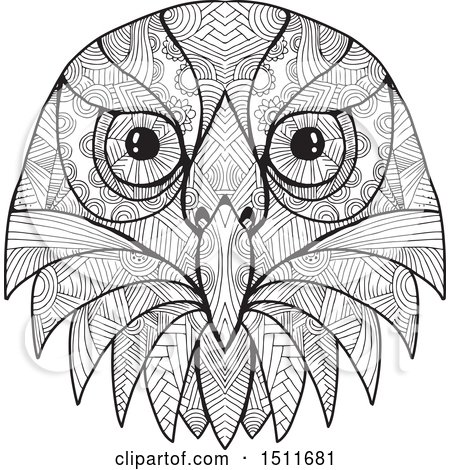 Clipart of a Black and White Australian Barking Owl Face - Royalty Free Vector Illustration by patrimonio